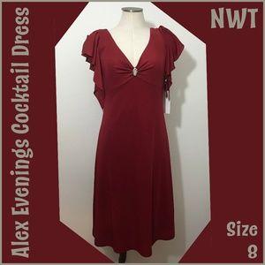 Alex Evenings Red Cocktail Dress NWT 8 Medium